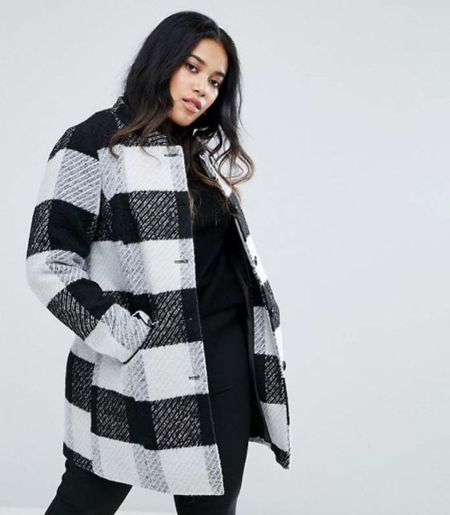 Collarless Check Coat With Pocket Detail