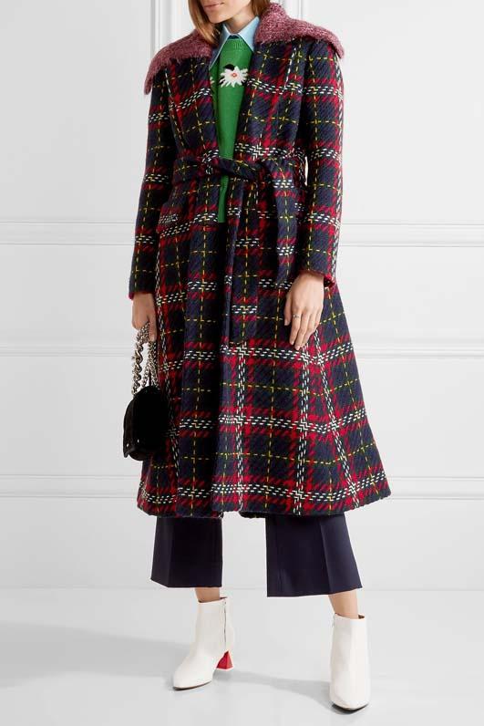 Faux Shearling-trimmed Tartan Wool-tweed Coat