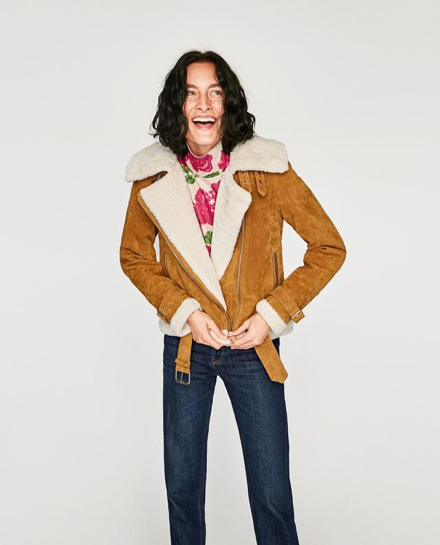 Zara Leather Biker Jacket With Open Lapels