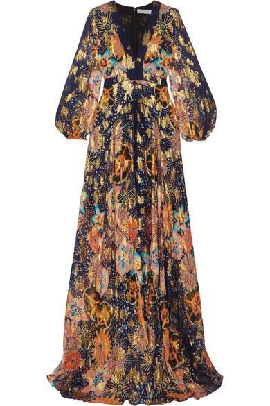 Chloé Floral-print Metallic Fil Coupé Silk-gauze Maxi Dress