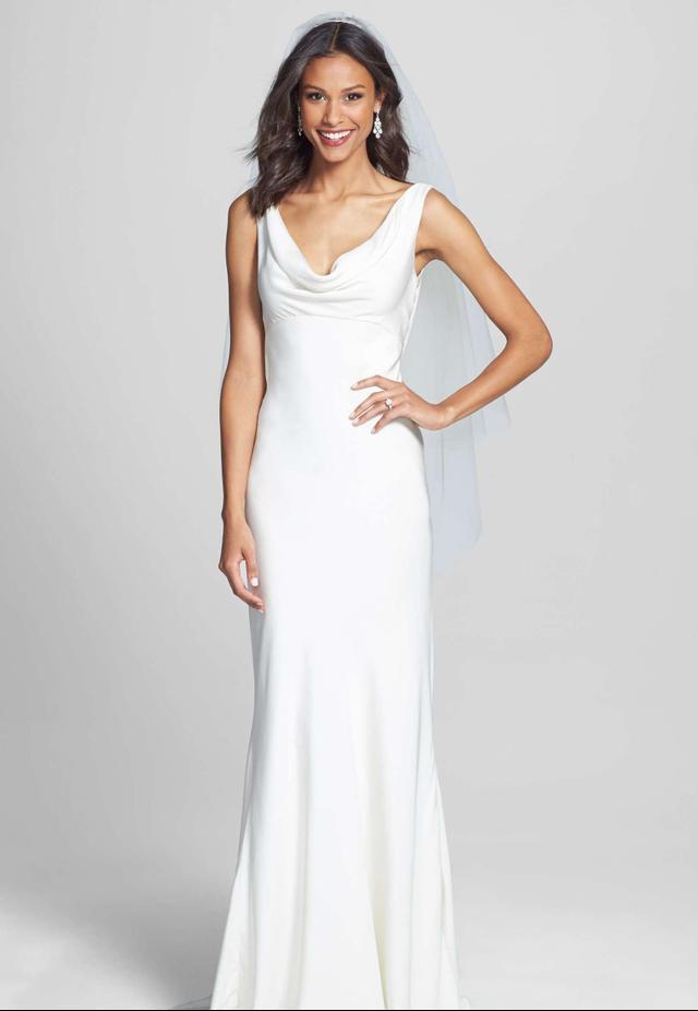 Women's Bliss Monique Lhuillier Draped Neck Silk Crepe Wedding Dress