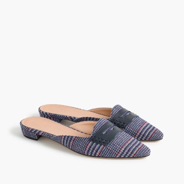 Tweed loafer mules
