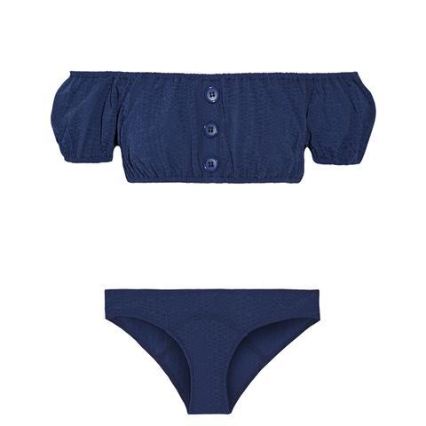 Leandra Off-the-Shoulder Seersucker Bikini