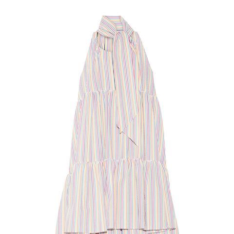 Tiered Striped Seersucker Minidress