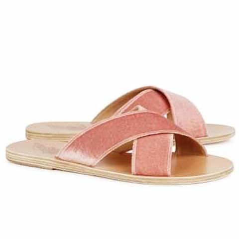 Thais Pink Velvet Sliders