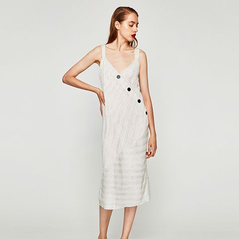 Striped Dress With Buttons and Straps