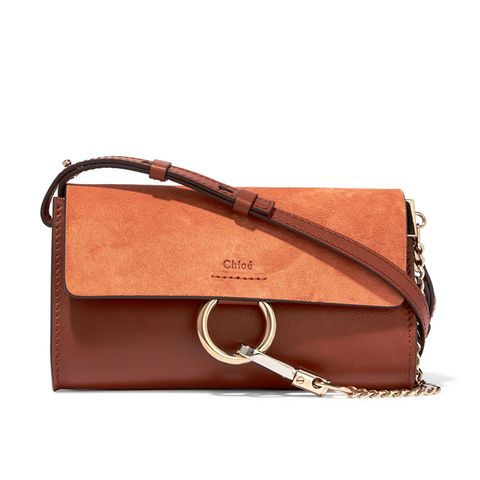 Faye Mini Leather and Suede Shoulder Bag