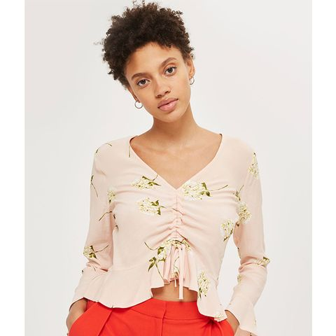 Ruched Floral Print Blouse
