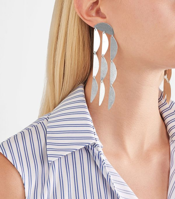 Annie Costello Brown Mini Rain Sterling Silver Earrings