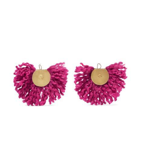 Fan Gold-Tone Wool-Blend Earrings