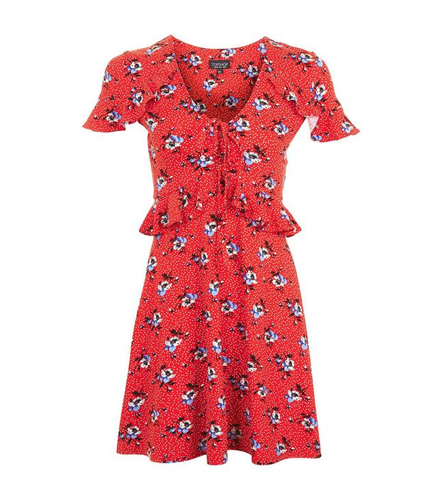 PETITE Red Floral Spot Dress