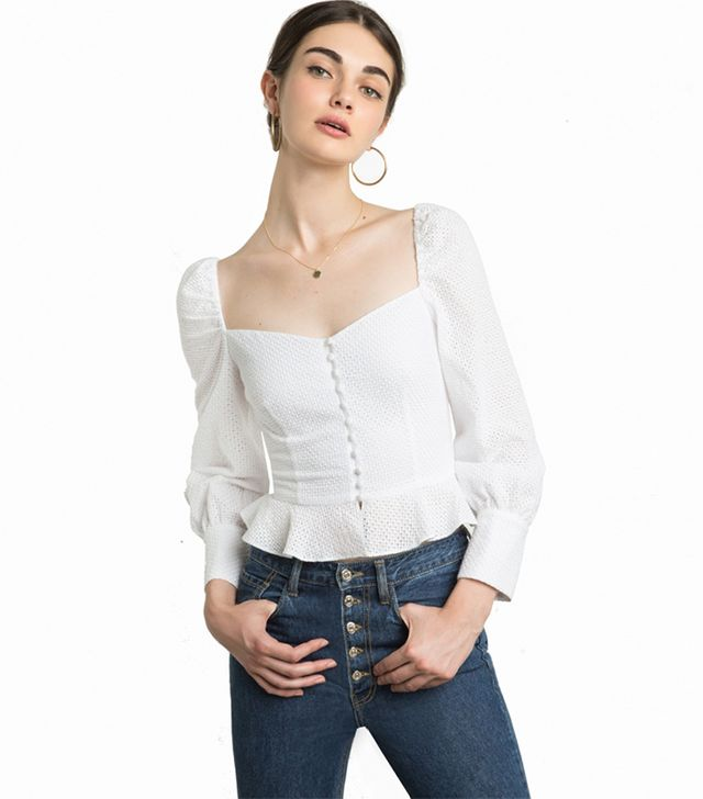Pixie Market Valentina Bustier Puffy Sleeve Top