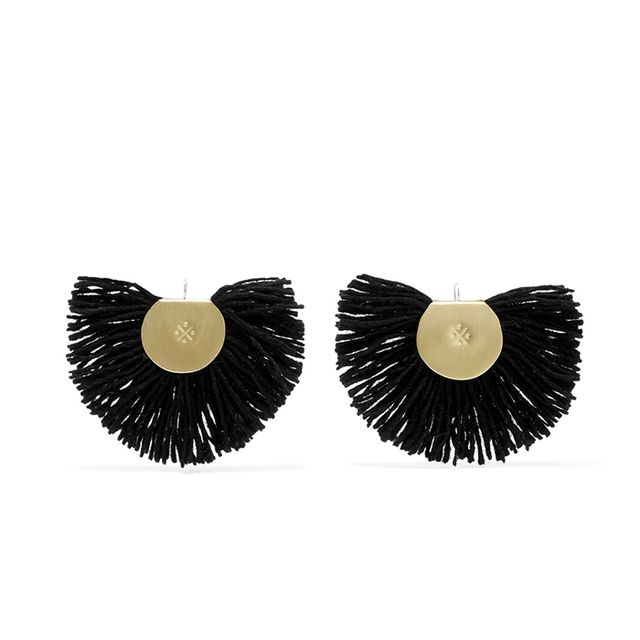 Hand Fan Gold-tone Wool Earrings