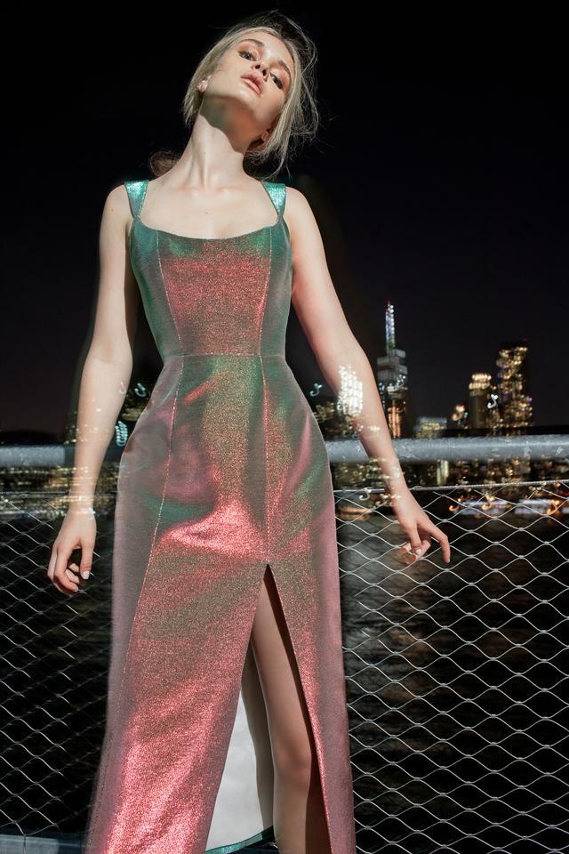 Moda Operandi Markarian Iridescent Corset Midi Dress