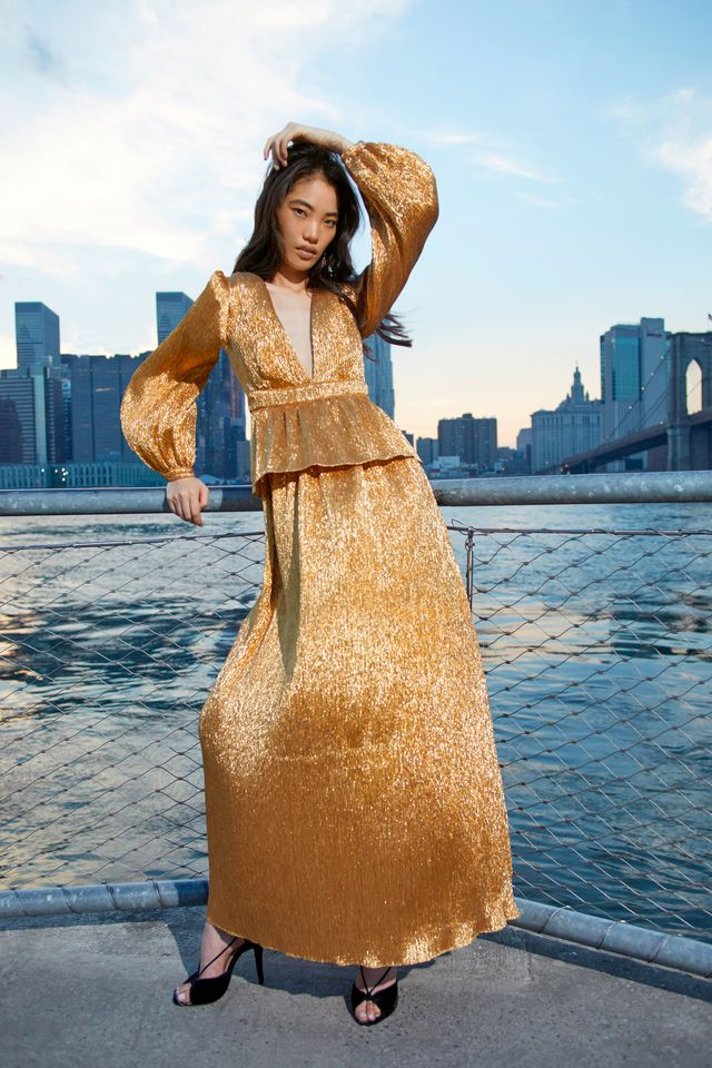 Moda Operandi Markarian Cassiopeia Lame Plisse Gown