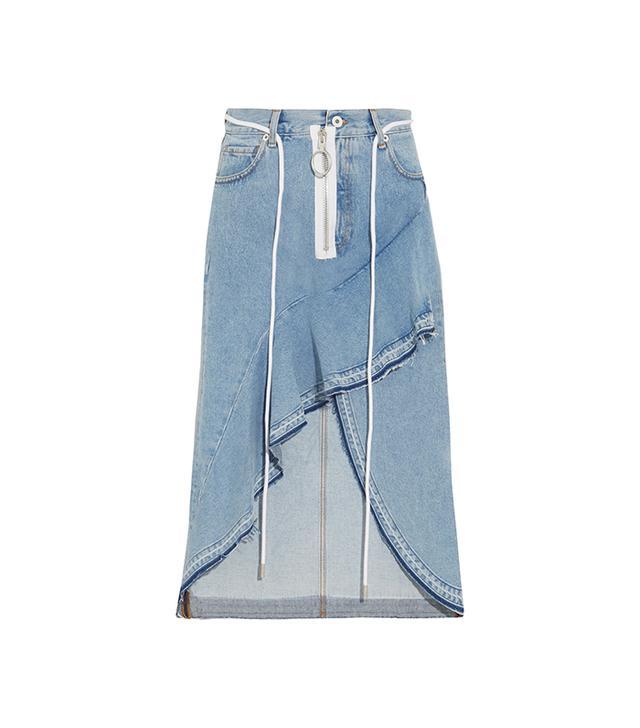 Asymmetric Wrap-effect Ruffled Denim Skirt
