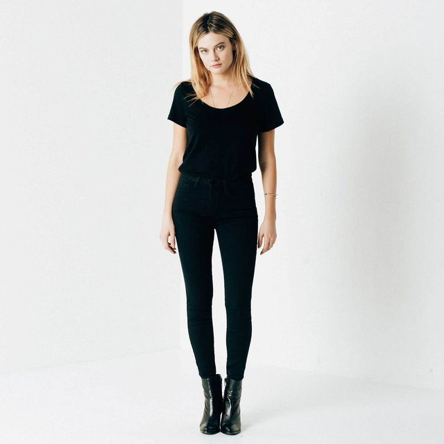 Dstld High-Waisted Skinny Jeans in Black Powerstretch