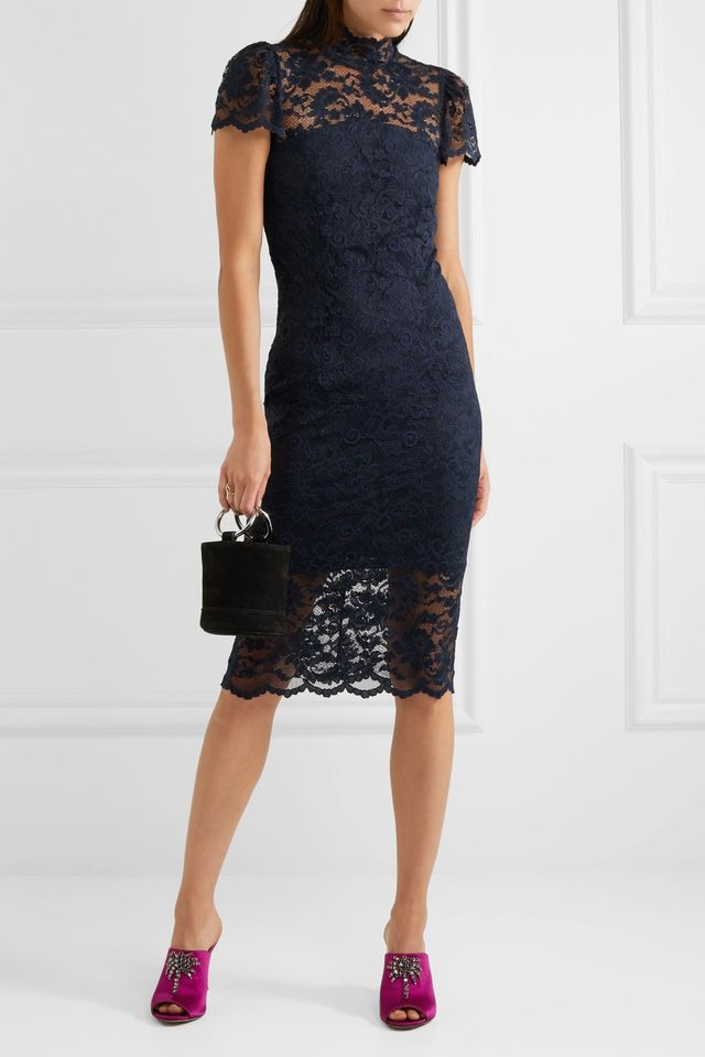 Flynn Stretch-lace Turtleneck Midi Dress