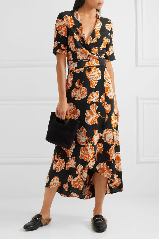 Geroux Floral-print Silk Crepe De Chine Wrap Dress