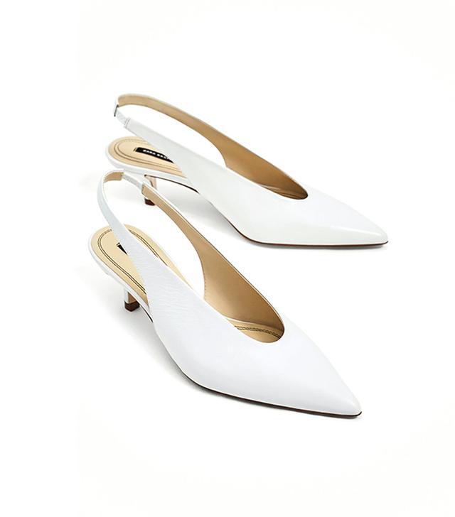 Zara Slingback Leather High-Heel Shoes
