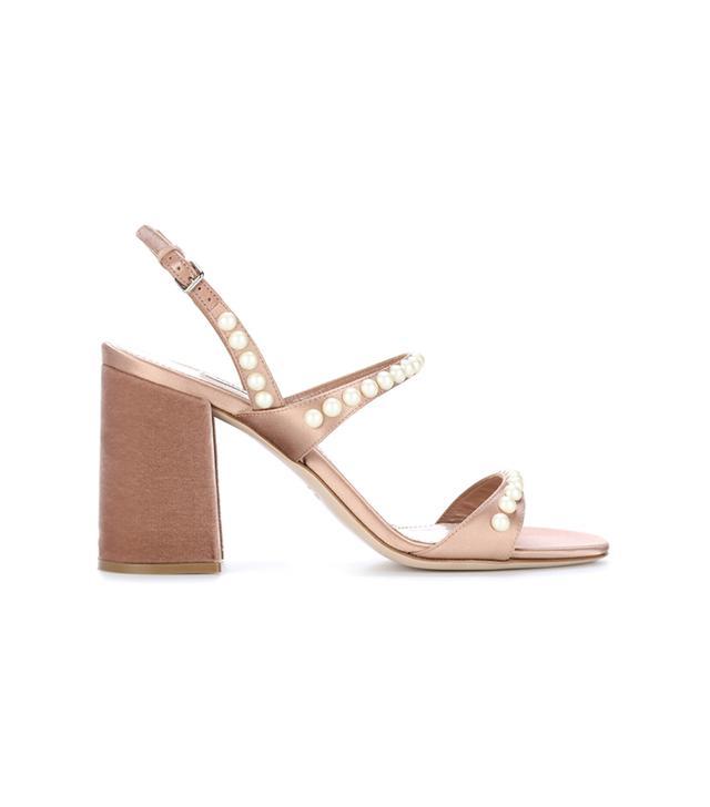 Embellished satin and velvet sandals