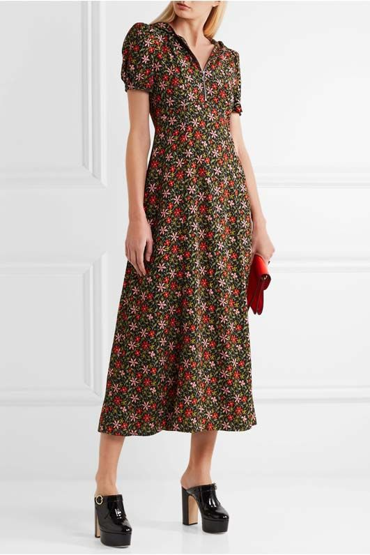 Hooded Floral-print Crepe Maxi Dress