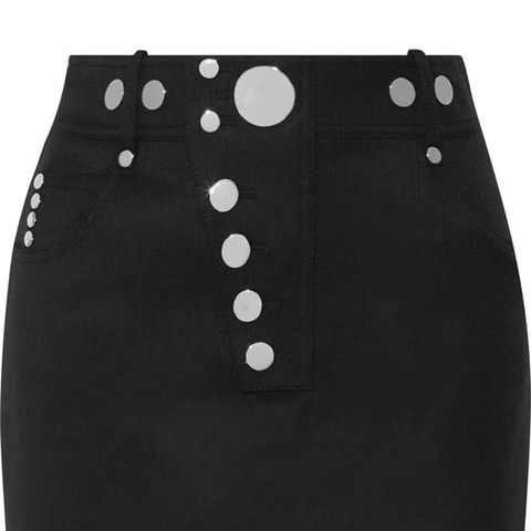 Studded Wool-Blend Mini Skirt