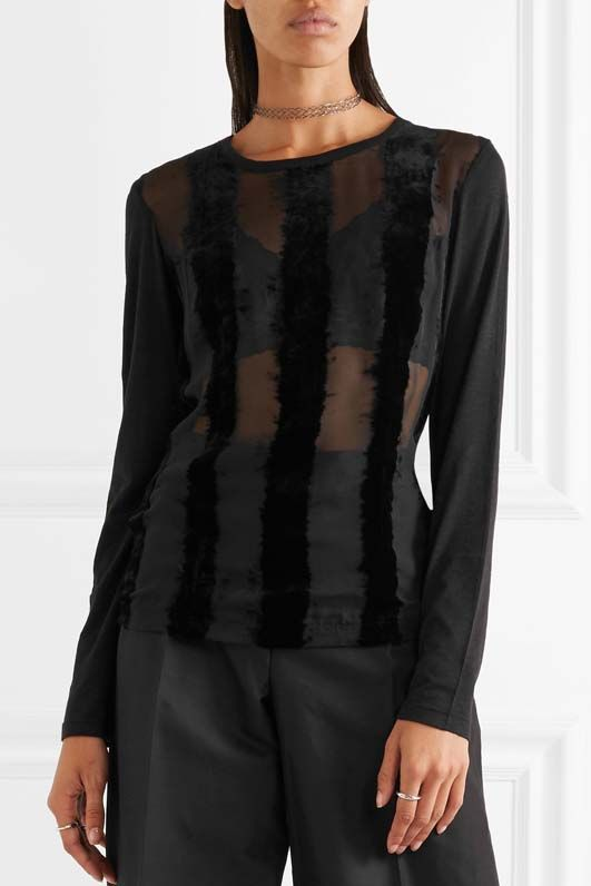 Striped Devoré-chiffon And Cotton-blend Jersey Top