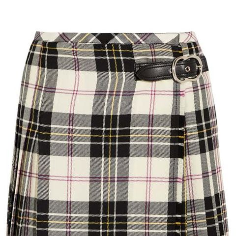 Leather-Trimmed Pleated Tartan Wool Mini Skirt
