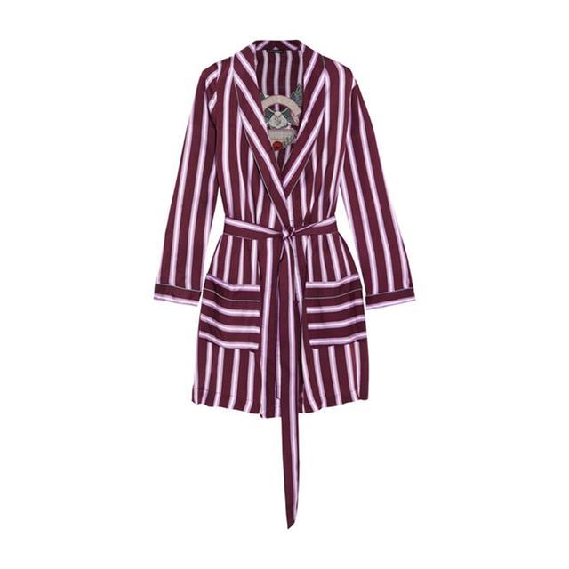 Love Stories Ritz Appliquéd Striped Satin Robe