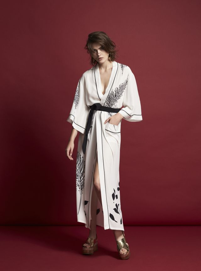 Chelsea De Luca Fotogenico Long White Silk Robe