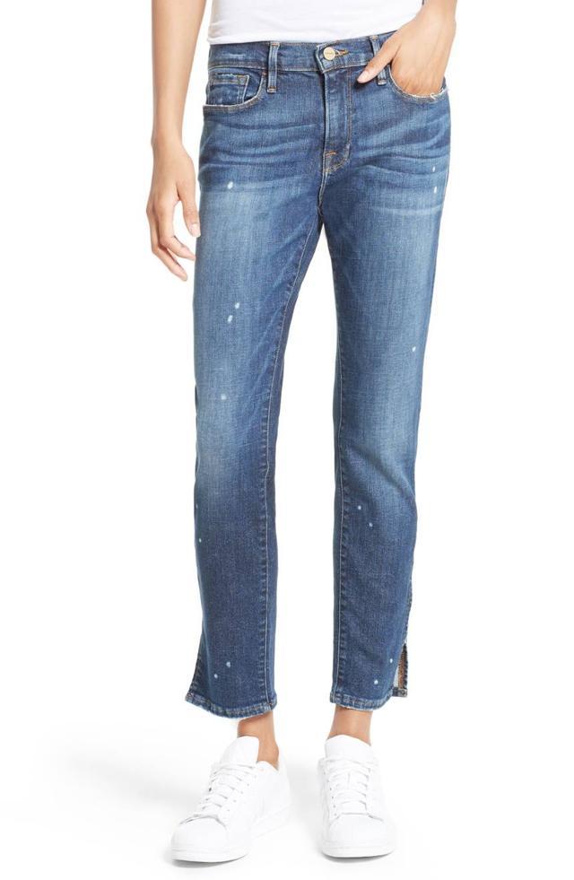 Women's Frame Le Garcon Slim Zip Hem Jeans
