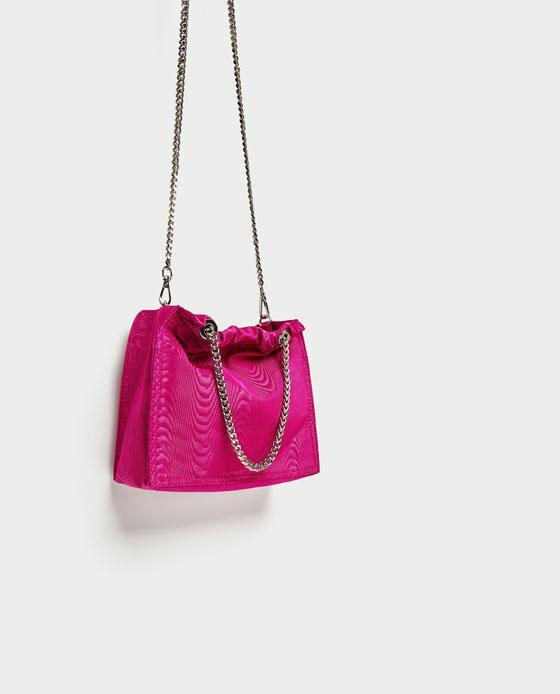 Zara Fabric Bucket Bag With Chain Straps