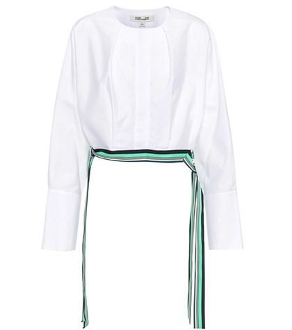 Cotton cropped side tie blouse