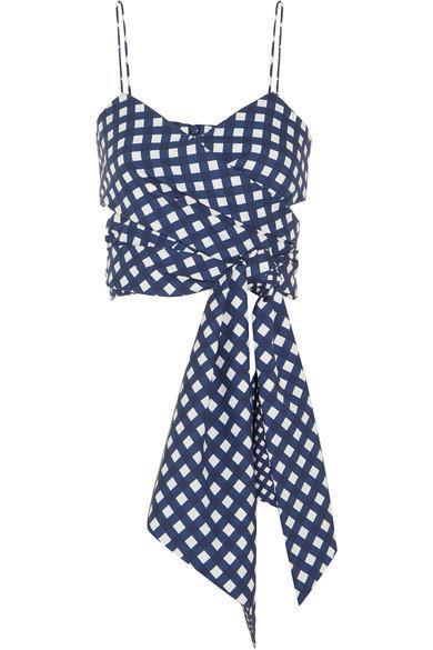 Ritual Cropped Checked Cotton-blend Wrap Top