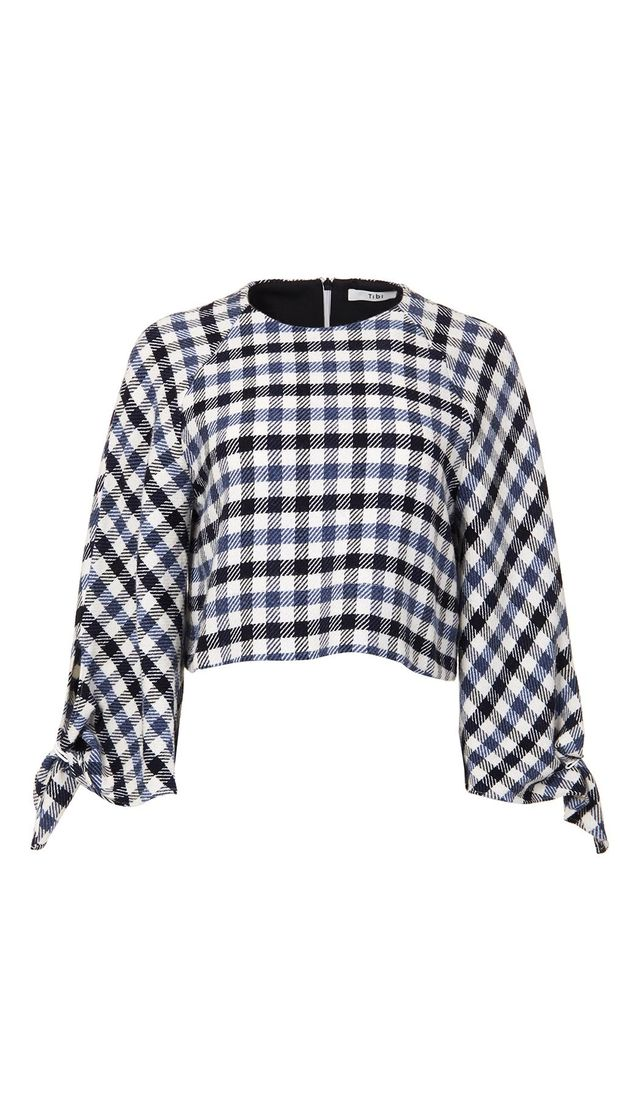 Fairfax Gingham Tie Sleeve Cropped Top