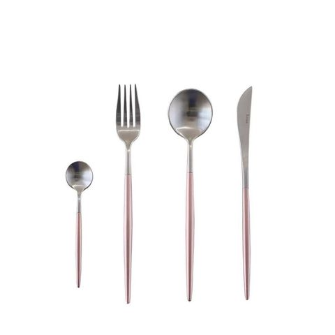 Stainless Steel Flatware Set in Pink