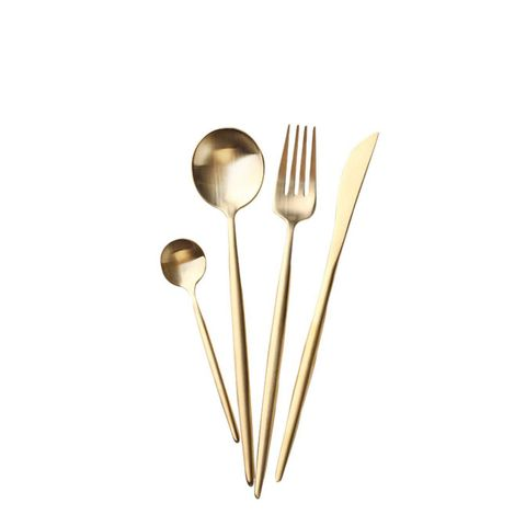 Stainless Steel Flatware Set in Matte Gold