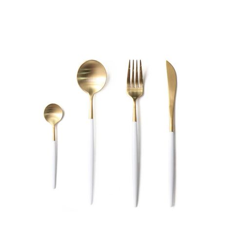 Stainless Steel Flatware Set in White and Gold