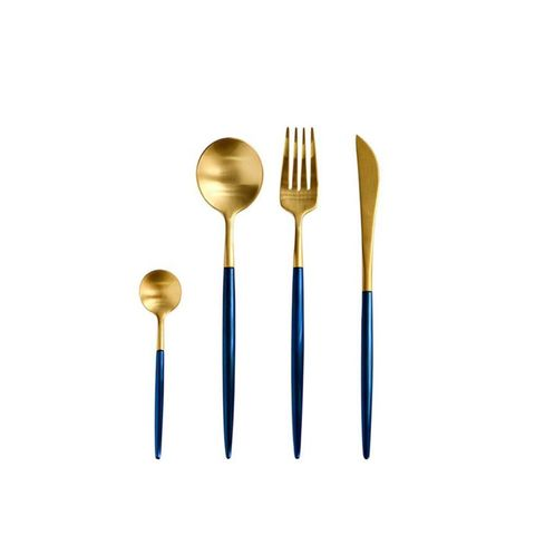 Stainless Steel Flatware Set in Blue and Gold