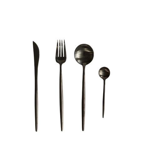 Stainless Steel Flatware Set in Black