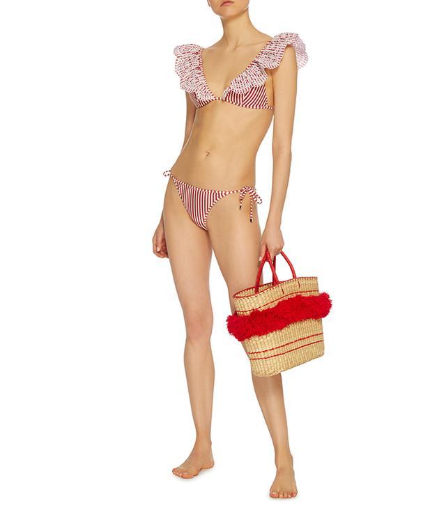Merdiain Striped Triangle Bikini Set