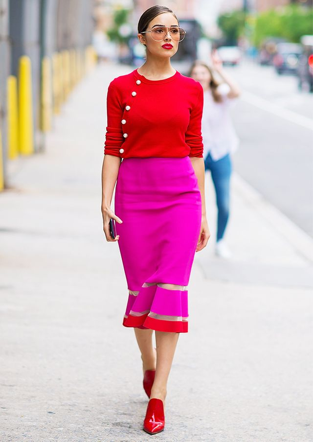 Olivia Culpo in a Red Sweater and Pink Skirt in NYC | WhoWhatWear