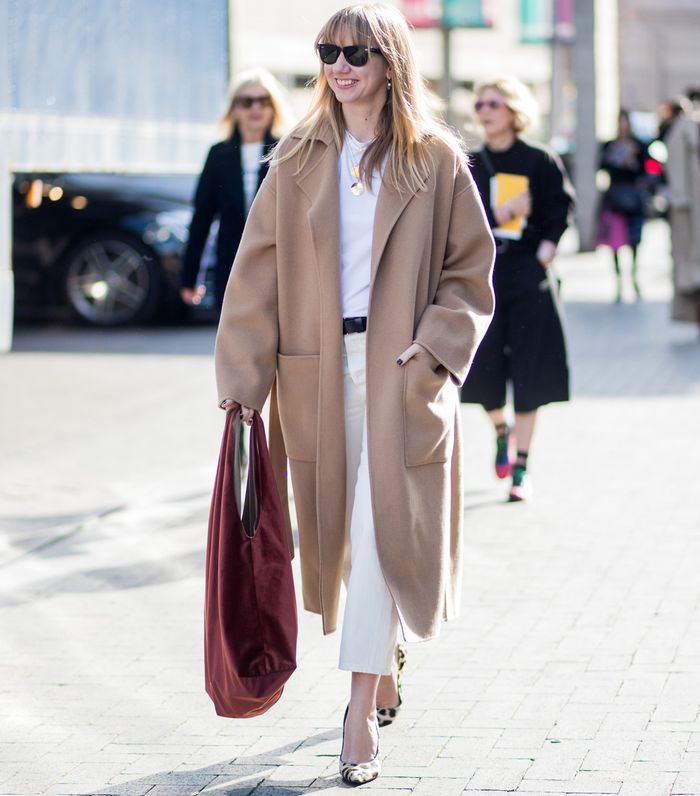 Best Camel Coats: Lisa Aiken wearing a camel overcoat