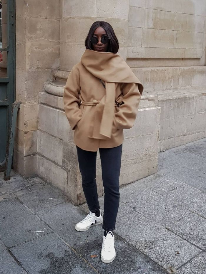 best camel coats: Aïda of Basics Touch wears a Frankie Shop camel coat
