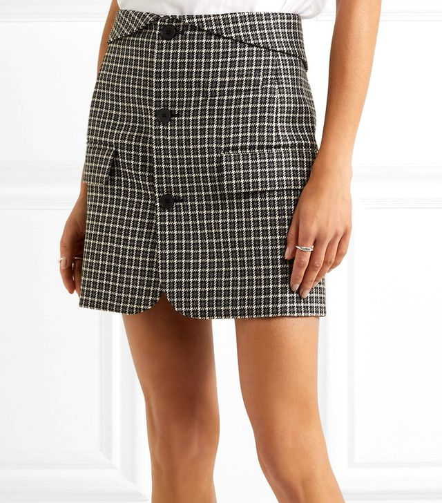 Checked Wool Mini Skirt