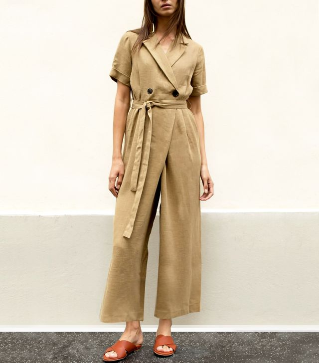 The Frankie Shop Light Brown Linen Belted Jumpsuit