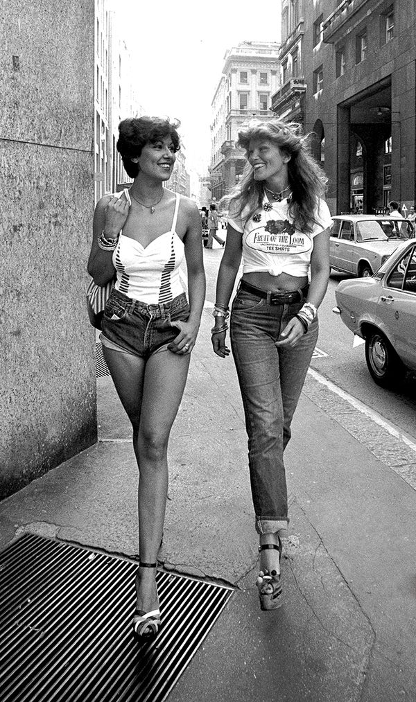 Two models in 1970 wearing Fiorucci clothes