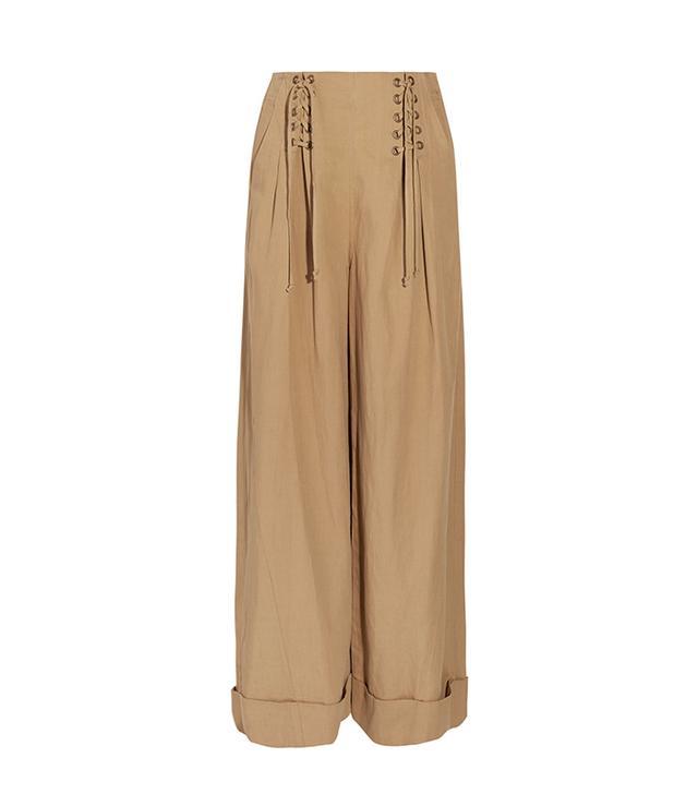 Gaucho Pleated Broadcloth Wide-leg Pants