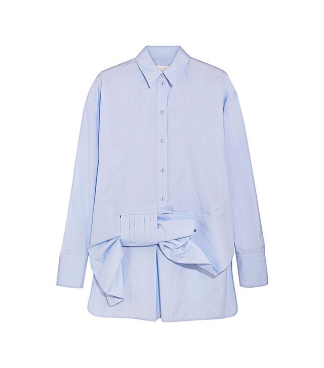 Asymmetric Bow-detailed Cotton Shirt